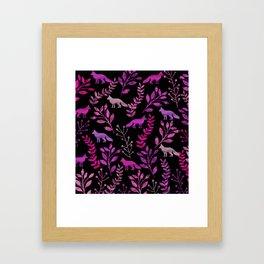 Watercolor Floral & Fox II Framed Art Print