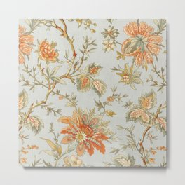 Blue Orange Flower Leaf Metal Print