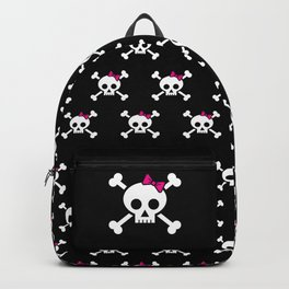 Girl pirate skull and bones with pink ribbon hair bow Backpack