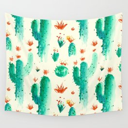Flowers And Cactus Wall Tapestry