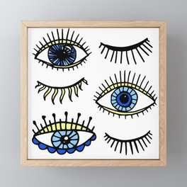 Evil Eyes Blue Yellow Lucky Charm Symbol Framed Mini Art Print