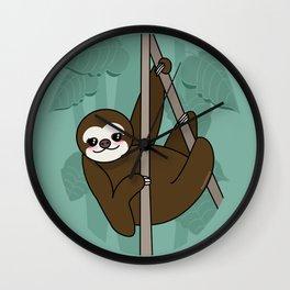 Kawaii sloth Wall Clock