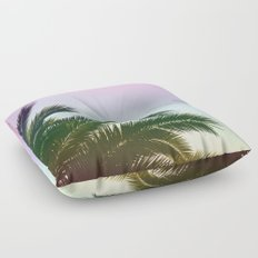 Palm Leaves  - Tropical Sky - Chilling Time Floor Pillow