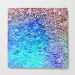 Foil crush   blue and gold glitter. Metal Print