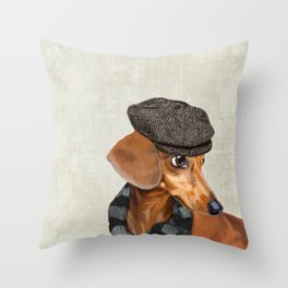 Elegant Mr. Dachshund Throw Pillow