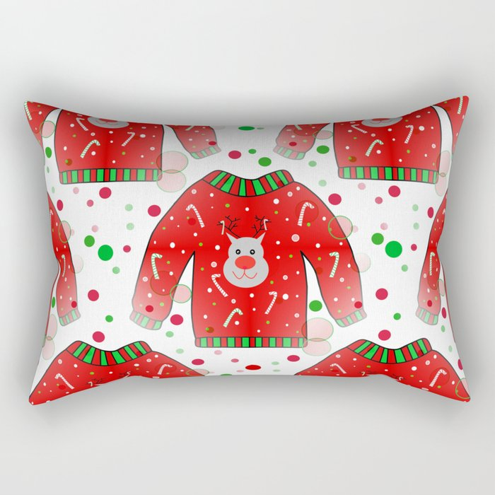 Ugly Christmas Sweater Pattern Rectangular Pillow