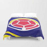 colombia Duvet Covers featuring Seleccion Colombia by DAN LOZ