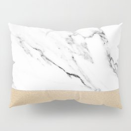 White Marble with Black and Copper Bronze Pillow Sham
