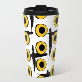 Snowy Owl Eyes Feathers Pattern Travel Mug