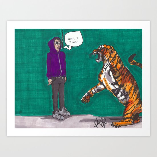 Fighting a tiger before it was cool Art Print