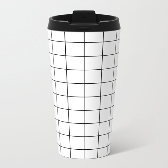 White Black Grid Minimalist Metal Travel Mug