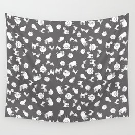 The Little Farm Animals, white on grey Wall Tapestry