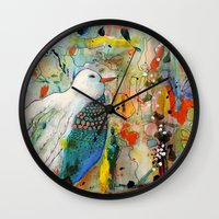 andreas preis Wall Clocks featuring vers toi by sylvie demers