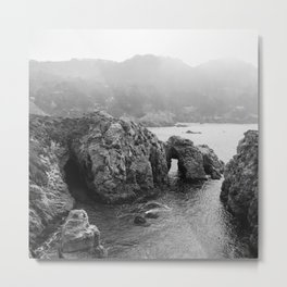 Ocean Arches | Black and White Nature Landscape Photography in California Metal Print