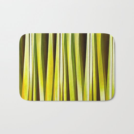 Yellow Ochre and Brown Stripy Lines Pattern Bath Mat