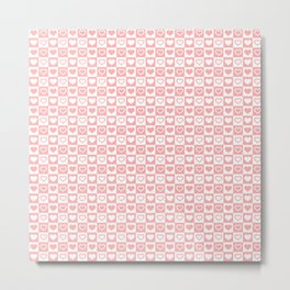 Coral Pink & White Valentines Love Heart Check Pattern Metal Print