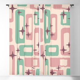 Retro Mid Century Modern Abstract Pattern 222 Dusty Rose and Pastel Green Blackout Curtain