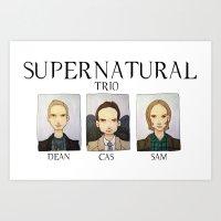 supernatural Art Prints featuring SUPERNATURAL by Space Bat designs