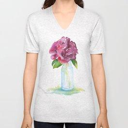 Rose in a Glass Vase Watercolor Unisex V-Neck