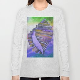 NAUTILUS CONCH SEA SHELL PURPLE IMPRESSIONS Long Sleeve T-shirt