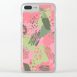 Pink & Green cool brush Clear iPhone Case
