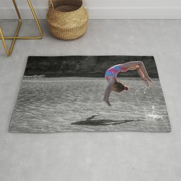 rainbow girl dance under the sunlight portraits Rug