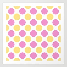 Yellow and pink polka dots Art Print