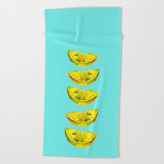 Lemon Slices Turquoise Beach Towel