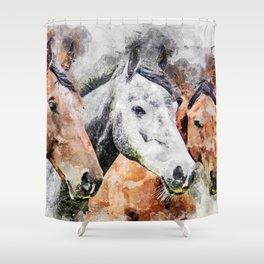 Horses Horse Head Animals Shower Curtain