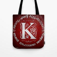 Joshua 24:15 - (Silver on Red) Monogram K Tote Bag