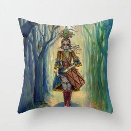 Dia de los Muertos Victorian Drummer Girl Throw Pillow