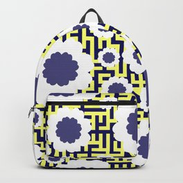 Floral maze in yellow and blue Backpack