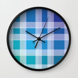Green, Blue, Purple Plaid Wall Clock