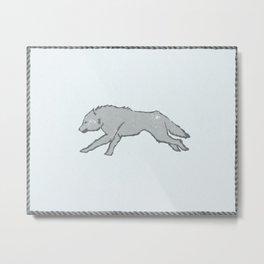 Gray Direwolf on Ice White field Metal Print