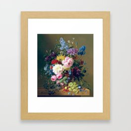 Arnoldus Bloemers - Flowers with Fruit and a Bird's Nest on a Marble Ledge Framed Art Print