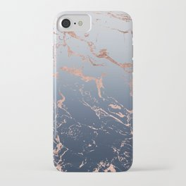 Modern grey navy blue ombre rose gold marble pattern iPhone Case