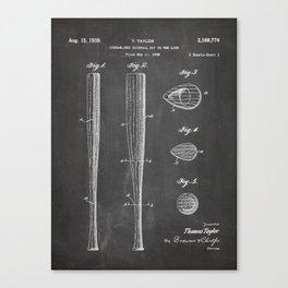 Baseball Bat Patent - Baseball Art - Black Chalkboard Canvas Print