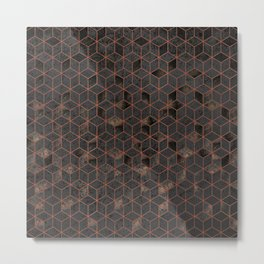 Copper Gold and Black Hexagons Geometric Pattern Metal Print