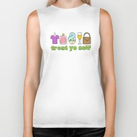 treat yo self Biker Tanks featuring Treat Yo Self Doodles by CozyReverie