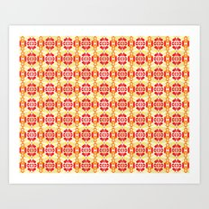 Red Yellow Tiles Art Print