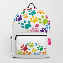 Dog paw print made of heart colorful Backpack