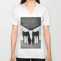 heels V-neck T-shirts featuring Spike Heels by davehare
