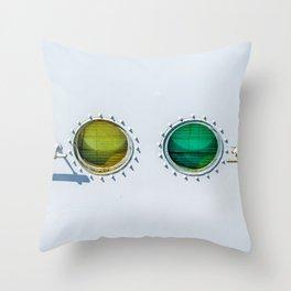 Colorful Viewports Of A Ship. Natural Minimalistic Abstract Throw Pillow