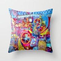 steam punk Throw Pillows featuring Steam Punk Music Box  by SharlesArt