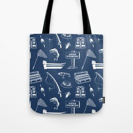 Gone Fishing // Navy Blue Tote Bag