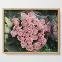 Pink Roses at Farmers Market Serving Tray