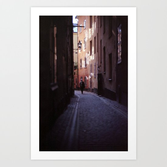 Stockholm Gamla Stan Alley Lonely Man Art Print