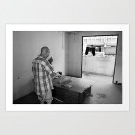 Portrait of a homeless man at home Art Print