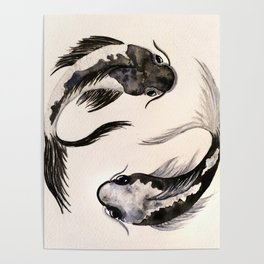 Yin Yang Koi Poster