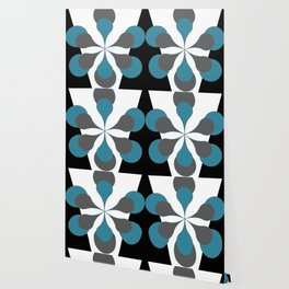 Mid-Century Modern Art 1.4B Grey Aqua Flower Wallpaper